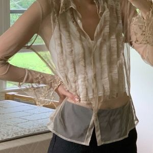 Vintage Sheer Button Down Blouse Long Sleeve